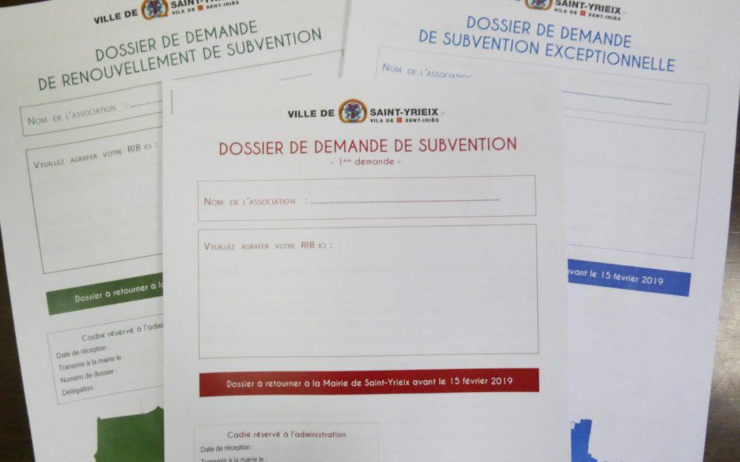 Dossiers de subventions aux associations